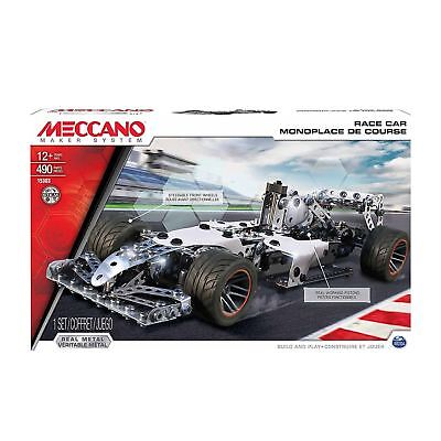 490 Piece Meccano Race Car Kit Construction Set Metal Build Pistons Wheels