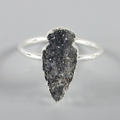 Size 6.75 Black Agate Druzy Geode Ring Silver Plated H93493