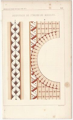 1849 Engraved Plate of Medieval Architectural Details - Romanesque Colored Panel