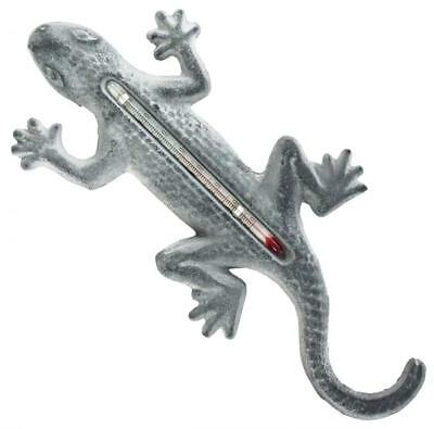 Lead Grey Vintage Gecko Cast Iron Ornate Indoor Outdoor Garden Wall Thermometer