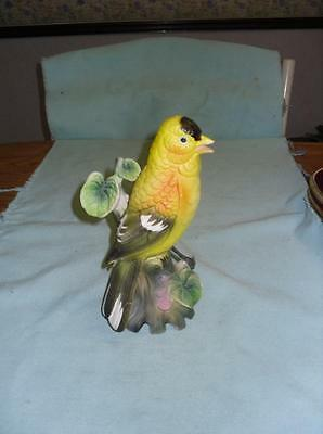Vintage Beautiful Bisque Porcelain Hand Painted Gold Finch Bird Figurine Flawed