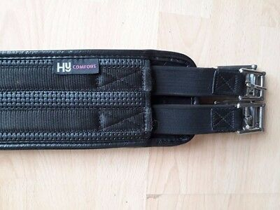 """HY WAFFLE COMFORT SHAPED GIRTH with ELASTICATED ENDS  black  54"""""""