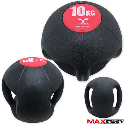 5-10kg Double Grip Rubber Handle Gym Fitness Exercise Medicine Ball Dual Grips