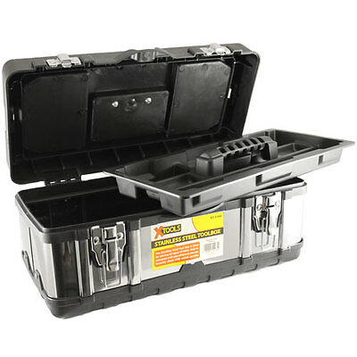 New Stainless Steel DIY Tool Box Storage Chest Metal Toolbox With Tray Tools