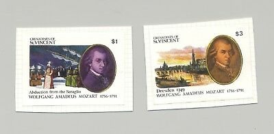 St Vincent (Grenadines) #797-798 Mozart, Composer, Music 2v Imperf Proofs