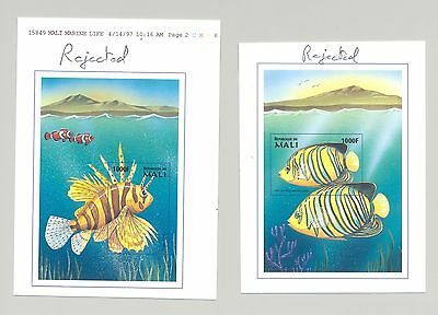 Mali #900-901 Fish 2v S/S Imperf Chromalin Proofs Rejected Designs