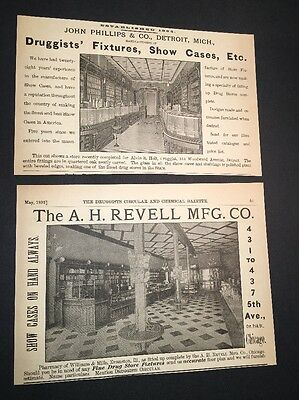 Lot Of 2 Druggists Illustrated 1892 Ad Drug Stores Fixtures Evanston Ill & Detro