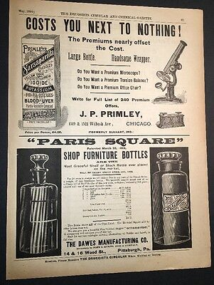 Primley Chicago  Druggists Illustrated 1892 Ad Pittsburgh Drugs chemists Bottles