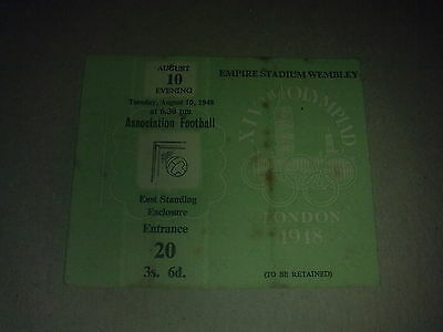 Ticket Olympic Games LONDON 1948 Football semi final SWEDEN - DENMARK 10.08.1948