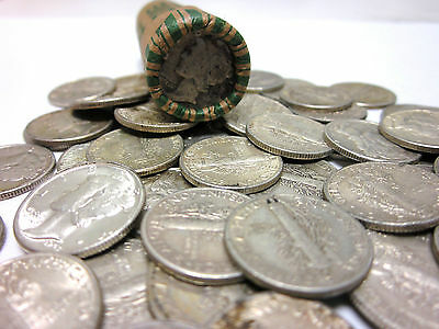 Roll of 50 Unsearched/Circulated Mercury Dimes - 90% SILVER - Free Shipping!
