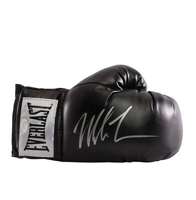 Mike Tyson Signed Black Everlast Boxing Glove - Signed Silver Autograph