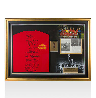 Framed England 1966 World Cup Winners Team Signed Shirt Presentation With Bobby
