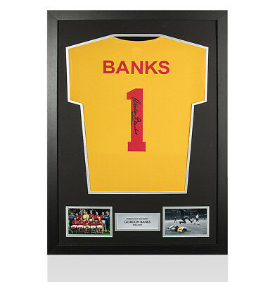 Framed Gordon Banks Signed Goalkeeper Shirt - Number 1 Autograph Jersey