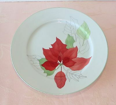 "Block Spal Watercolors POINSETTIA Dinner Plate 10.5"" Christmas Holiday NICE"