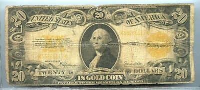 1922 ~ $20 Twenty Dollar Gold Certificate Large Note ~ Vg