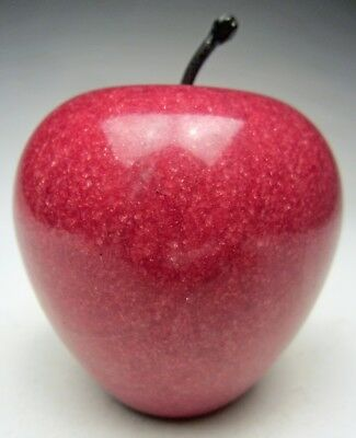 """Genuine Alabaster Hand Carved Red Apple Paperweight 3 ½"""" tall made in Italy"""