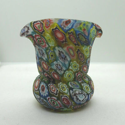 Bright Multicolored Textured Millefiori Swirl Frosted Art Glass Toothpick Holder