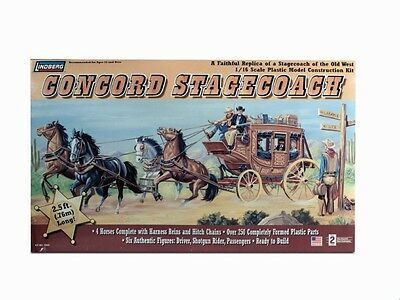 LINDBERG Concord Stagecoach w/Horses & Figures Model Kit 1/16