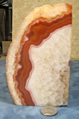 """Bookend solid Agate Geode 6""""x3.5""""x3""""  2lb 15 oz"""