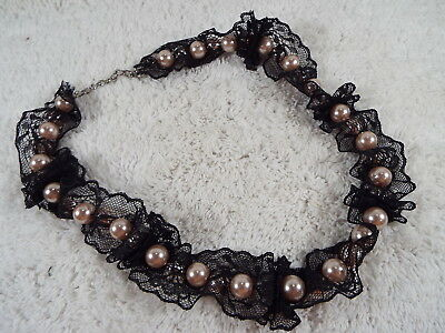 Pink Bead Black Lace Necklace (D29)