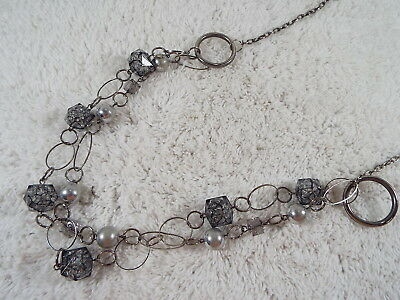 Silvertone Black Spattered Acrylic Bead Ring Chain Necklace (D29)