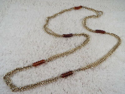 SARAH COVENTRY Goldtone Chain Amber Acrylic Bead Necklace (D29)