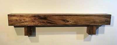 Beam Wood Shelf Floating Rustic Fireplace Mantle Mantel with Square Corbels