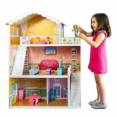 BCP Kids 44in Height 3-Story Wooden Open Dollhouse Set w/ 5 Rooms, Accessories