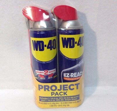 WD-40 Multi-Use Project Pack 14.4oz EZ Reach & 14.4oz Smart Straw 2 Cans - NEW