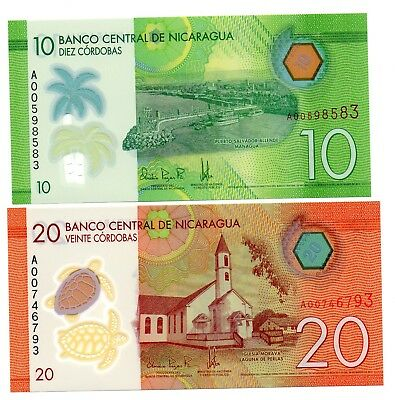 NICARAGUA 10 and 20 Cordobas  - A Set of 2 Crisp UNC Polymer Banknotes