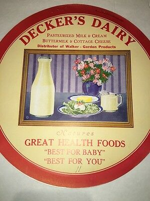 Decker's Dairy Vintage Paper Round Insert Parisian Novelty For A Button Sign