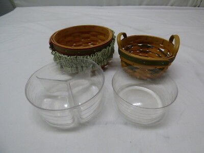 """Longaberger 1999 Tree Trimming Peppermint & 2000 6 3/4"""" Round Red Green Trim"""
