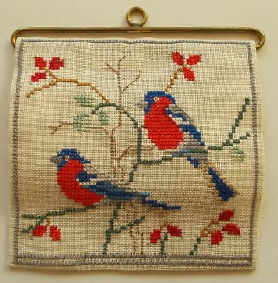 Swedish Xmas: Hand-cross-stitched linen sampler, bullfinches in tree, hanger