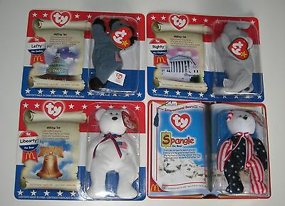 TY Beanie Babies Patriotic Spangle Libearty Lefty Righty Happy Meals NEW!