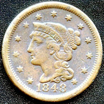 """1848 United States """"Braided Hair"""" 1 Cent Coin"""