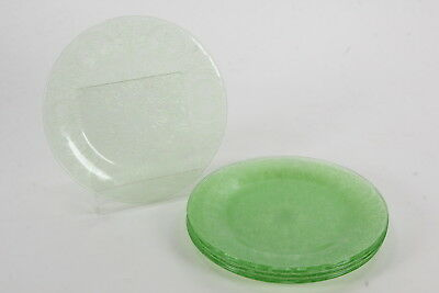 "6 Indiana Glass Co Horseshoe Green Depression Glass Luncheon Plates 9 3/8"" Diam"