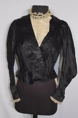 Rare French Antique Victorian Era Black Silk Satin  Bodice Size 34 Small