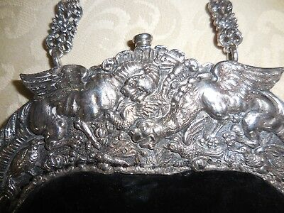 Antique Sterling Silver 800 Purse Handbag 1880's Dragons - Chatelain