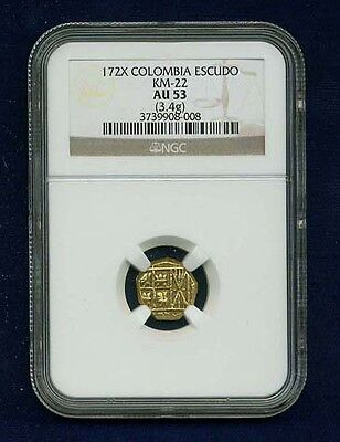 Colombia Luis I  1725 Rare Gold Escudo Almost Uncirculated Certified Ngc-Au 53