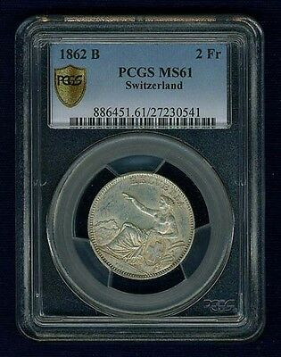 Switzerland  1862-B  2 Francs Silver Coin, Uncirculated,  Pcgs Certified  Ms61