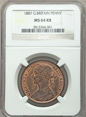 Great Britain Victoria 1887 1 Penny, Choice Uncirculated, Certified Ngc Ms-64-Rb