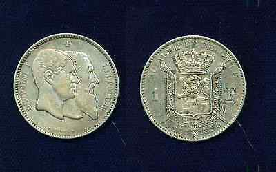 Belgium  Leopold I    1880    1 Franc  Silver Coin  Xf+