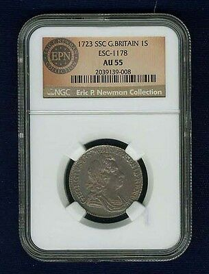 G.b./england George I  1723-Ssc  1 Shilling Silver Coin Certified By Ngc Au-55
