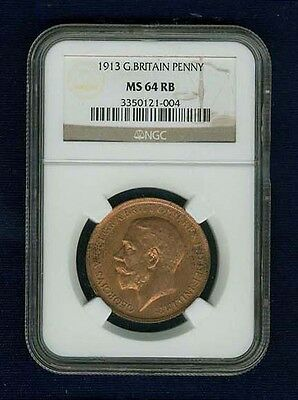 G.b.//england  George V 1913  Penny, Choice Uncirculated, Certified Ngc Ms-64-Rb