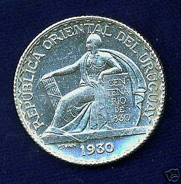 Uruguay  1930  20 Centesimos  Uncirculated Silver Coin
