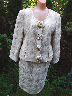 Vintage 80s Creme GOLD Jacket Skirt Suit Wool ITALY M WOW JEWELED BUTTONS 2 pc