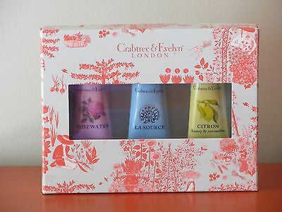 Crabtree & Evelyn - 3 x HAND THERAPY 25g - ROSEWATER / LA SOURCE / CITRON - NEW