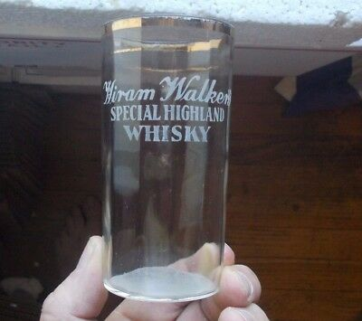 Hiram Walker's Special Highland Whisky Etched Pre Pro Whiskey Advertising Glass