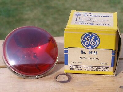"""NOS General Electric GE Red Auto Signal Lamp Part 4416R 4.5"""" Beam Vintage 12-16v"""