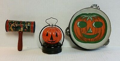 Vintage Halloween 2 Old- Noise Makers And A Lantern As Found